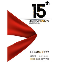 15 anniversary design with big red ribbon vector