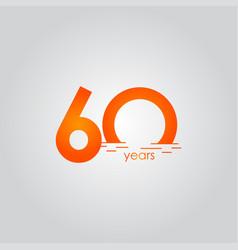 60 years anniversary celebration sunset orange vector