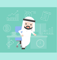 Arab smart businessman with office desk and vector
