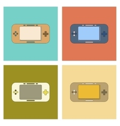Assembly flat icon game console vector
