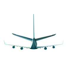 back view of flying plane of vector image