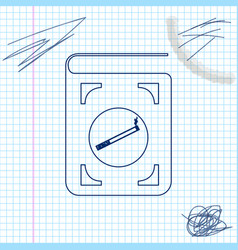 book with cigarette line sketch icon isolated on vector image