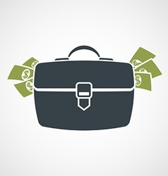 Briefcase with money sticking out vector image