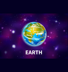 Bright realistic earth planet on colorful deep vector