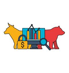 Bull bear dollar chart stock market vector