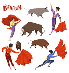 Bullfighting characters of vector