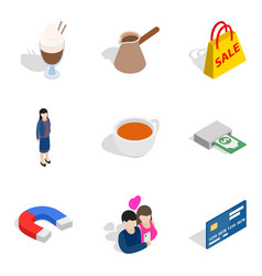 Business lady icons set isometric style vector