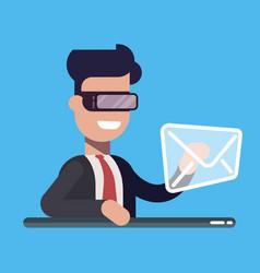 Businessman presses button message mail virtual vector