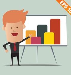 Cartoon business man present information vector image