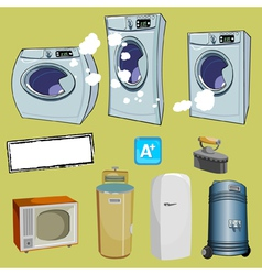 Cartoon household items different washing machine vector