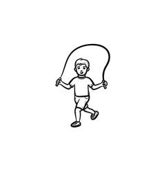child with skipping rope hand drawn outline doodle vector image