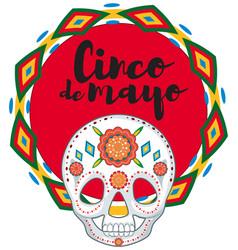 Cinco de mayo with skull mask vector