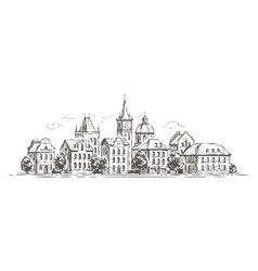city view with historic buildings town sketch vector image