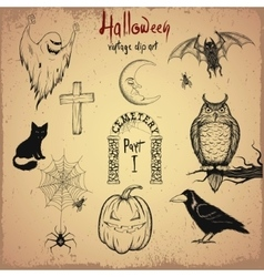 Collection of terrible halloween objects vector