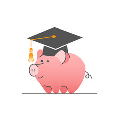 college savings in piggy bank with bachelor cap vector image
