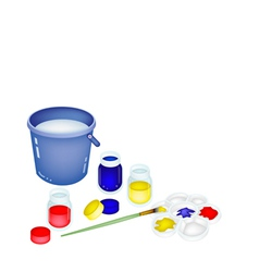 Color Paint Jars and Palette with A Bucket vector image