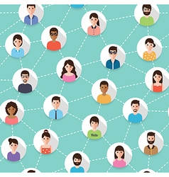 Connected people seamless pattern vector image