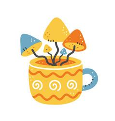 Cute tea cup with mushrooms inside hand vector