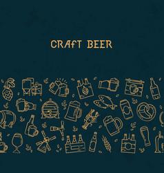 Dark seamless horizontal pattern beer of hand vector