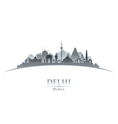 Delhi india city skyline silhouette white vector