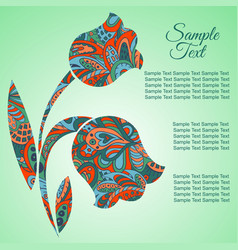 Doodle flower tulips zentangl drawing holiday vector