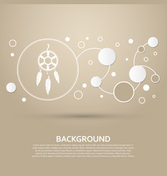 Dreamcatcher icon on a brown background with vector