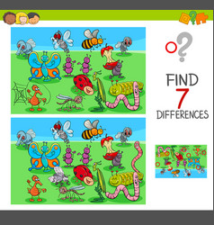 Find differences game with insect animals vector