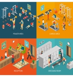 Fitness Isometric Concept Icons Set vector