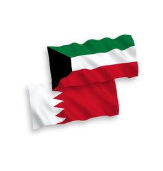Flags bahrain and kuwait on a white background vector