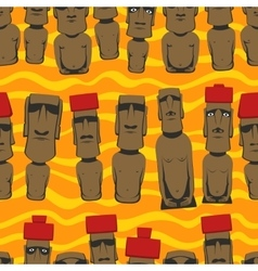 Flat style Cartoon Easter Island Rapa Nui seamless vector