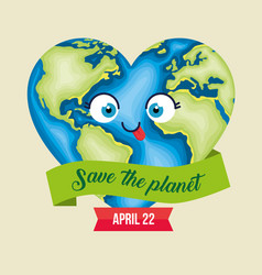 Funny planet heart to earth day vector