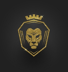 Glitter gold lion logo vector