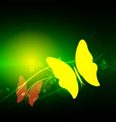 green abstract and butterfly vector image