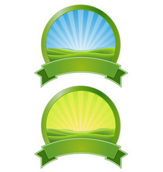 green sunrise banners vector image