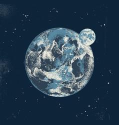 hand drawn earth and moon vector image