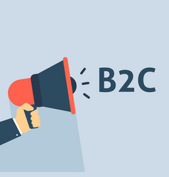 Hand holding megaphone with b2c announcement vector