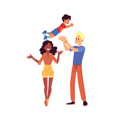 happy interracial family stands tossing up their vector image
