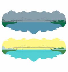 Hercilio luz bridge skyline day and night vector