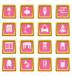 interior furniture icons set pink square vector image