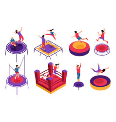 isometric bouncy castle icons vector image