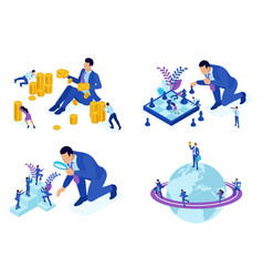 Isometric concepts career growth promotion vector
