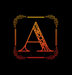 Letter a with ornament vector