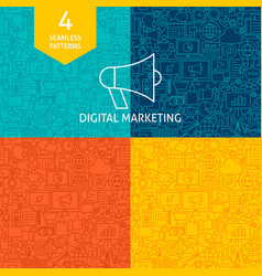 Line digital marketing patterns vector