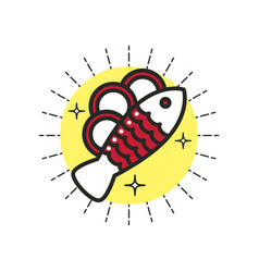 Linear icon baked fish vector