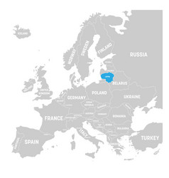 Lithuania marked by blue in grey political map of vector
