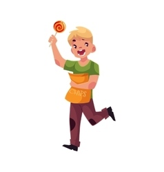 Little blond boy running with pack of chips and vector