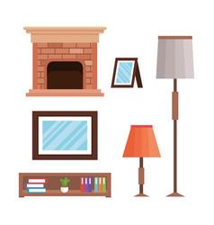 Livingroom elements set icons vector