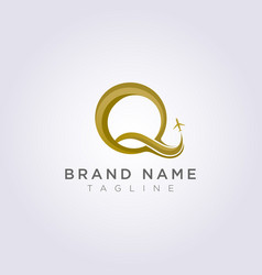 Logo design combines letter q with plane vector