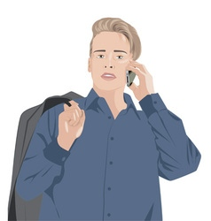 man in a blue shirt talking on the phone vector image
