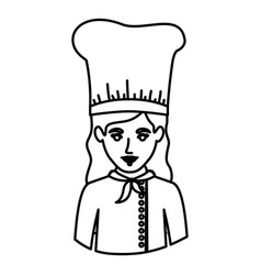 Monochrome contour half body of female chef vector